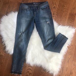 Gap skinny distressed raw hem jeans